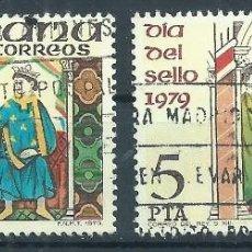 Sellos: R7/ ESPAÑA USADOS X2, 1979, EDF. 2526, DIA DEL SELLO. Lote 58466286