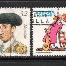 Sellos: ESPAÑA 3488/89 - AÑO 1997 - PERSONAJES - MANOLETE - CHARLIE RIVEL. Lote 186276347