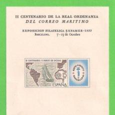 Sellos: EDIFIL 2437. HOJITA ILUSTRADA - CORREO DE LAS INDIAS. ESPAMER'77. (1977).** NUEVO.. Lote 58939980