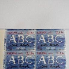 Sellos: ESPAÑA EDIFIL 3963. DIARIO ABC AÑO 2003 BLOQUE 2X2 NUEVOS .. Lote 259842310