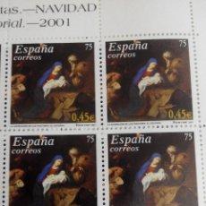Sellos: ESPAÑA EDIFIL 3836 . NAVIDAD. AÑO 2001. BLOQUE 2X2 NUEVOS. Lote 210261720