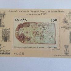 Sellos: ESPAÑA EDIFIL 3722 CARTA JUAN DE LA COSA AÑO 2000 HOJITA NUEVO . Lote 142937738