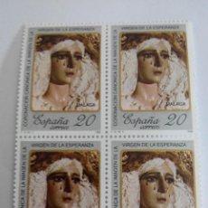 Sellos: ESPAÑA EDIFIL 2954 VIRGEN DE LA ESPERANZA AÑO 1988 BLOQUE 2X2 NUEVO. Lote 59435985