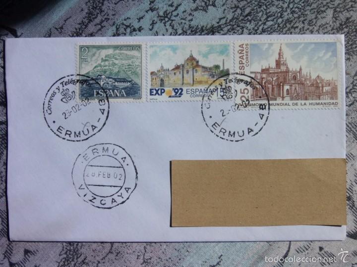 MARCOFILIA - 2 MATASELLOS DIFERENTES - ERMUA - VIZCAYA - CATEDRAL SEVILLA - CARTUJA (Sellos - España - Juan Carlos I - Desde 2.000 - Cartas)