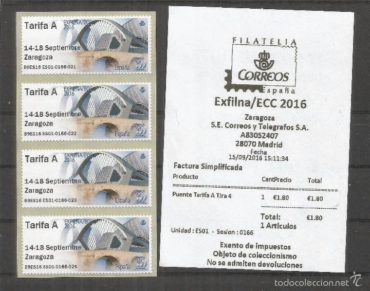 ZARAGOZA ATM EXILNA 2016 TARIFA A TIRA DE 4 CON RECIBO PUENTES BRIDGES (Sellos - España - Juan Carlos I - Desde 2.000 - Nuevos)