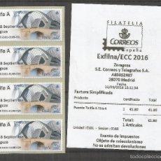 Sellos: ZARAGOZA ATM EXILNA 2016 TARIFA A TIRA DE 4 CON RECIBO PUENTES BRIDGES. Lote 191627253