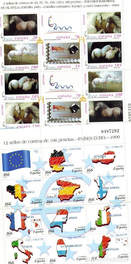 Sellos: Series completas del año 1999, dos enteros postales (sobres), tres pruebas de lujo del año 1999 - Foto 4 - 61538140