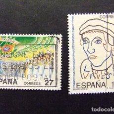Sellos: ESPAÑA 1992 EFEMERIDES EDIFIL Nº 3224 / 3225 º FU YVERT Nº 2820 / 2821 º FU. Lote 64420639