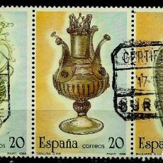 Sellos: ESPAÑA 1988- EDI 2944/46 (ARTESANIA DEL VIDRIO)(TRIO UNIDO) USADOS. Lote 65685605