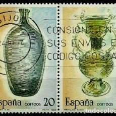 Sellos: ESPAÑA 1988- EDI 2944-46 (ARTESANIA DEL VIDRIO)(PAR UNIDO) USADOS. Lote 65685942