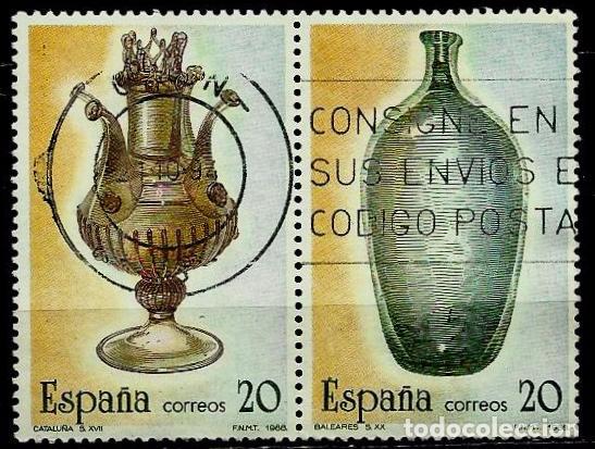 ESPAÑA 1988- EDI 2945-46 (ARTESANIA DEL VIDRIO)(PAR UNIDO) USADOS (Sellos - España - Juan Carlos I - Desde 1.986 a 1.999 - Usados)