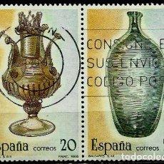 Sellos: ESPAÑA 1988- EDI 2945-46 (ARTESANIA DEL VIDRIO)(PAR UNIDO) USADOS. Lote 65686131