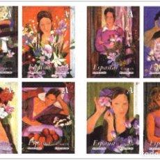 Sellos: ESPAÑA 2003 - LA MUJER Y LAS FLORES - CARNET - EDIFIL Nº 4003-4010. Lote 118608288