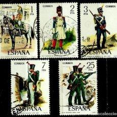 Sellos: ESPAÑA 1976- EDI 2350/54 (SERIE: UNIFORMES MILITARES VI) USADOS. Lote 66803375