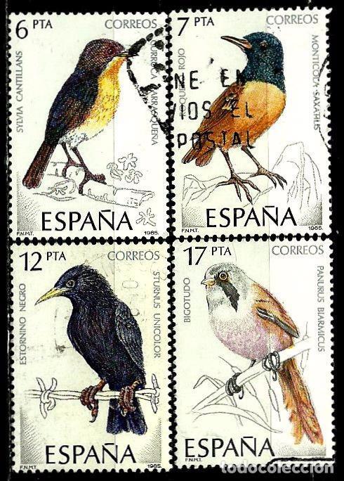 ESPAÑA 1985- EDI 2820/23 (SERIE: PÁJAROS) USADOS (Sellos - España - Juan Carlos I - Desde 1.975 a 1.985 - Usados)