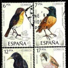 Sellos: ESPAÑA 1985- EDI 2820/23 (SERIE: PÁJAROS) USADOS. Lote 194227580