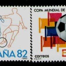Sellos: ESPAÑA AÑO 1980 EDIFIL Nº 2570-2571*** CAMPEONATO MUNDIAL DE FUTBOL ESPAÑA-82 SERIES COMPLETAS. Lote 66932122