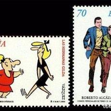 Sellos: ESPAÑA 2000 - PERSONAJES DEL TEBEO - COMICS - EDIFIL Nº 3712-3713. Lote 143918536