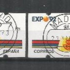 Francobolli: ATM KLUSENDORF EXPO 92 4 DIGITOS 4 VALORES CON MATASELLOS. Lote 68162697