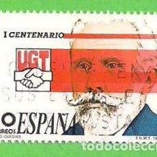 Sellos: EDIFIL 2948. I CENTENARIO DE LA UNIÓN GENERAL DE TRABAJADORES - PABLO IGLESIAS. (1988).. Lote 70358305