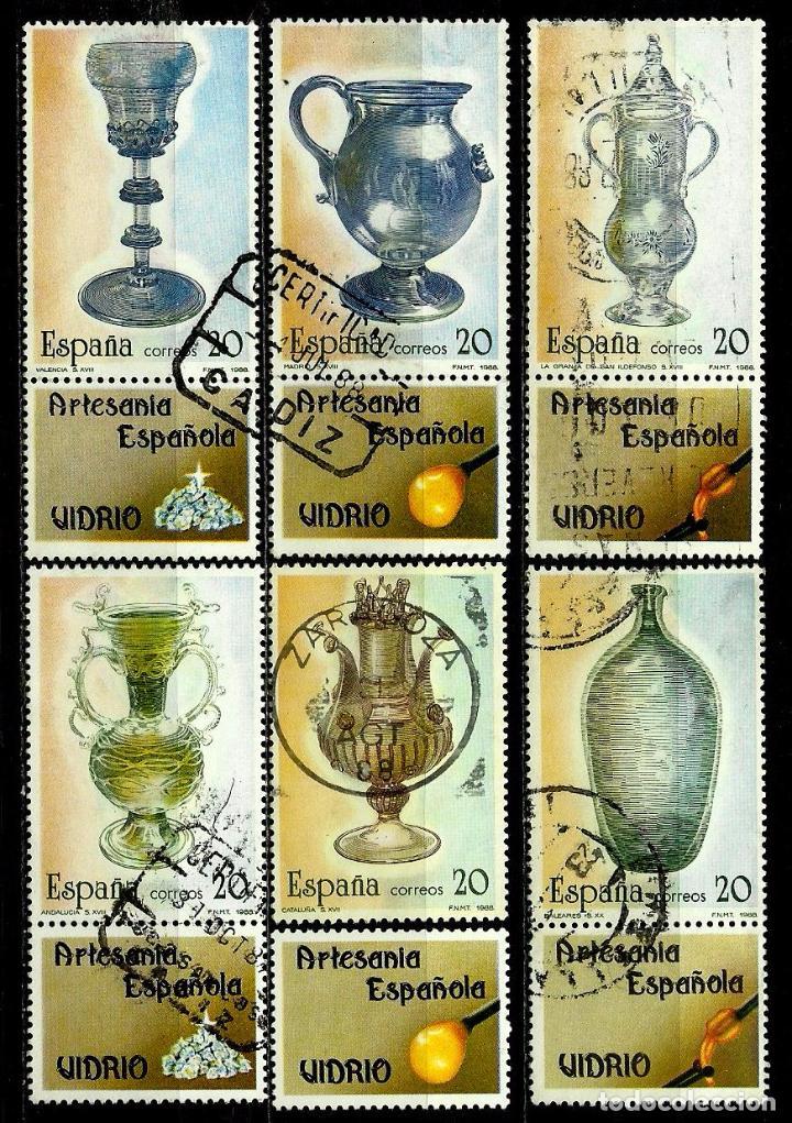 ESPAÑA 1988- EDI 2941/46 (SERIE-ARTESANIA DEL VIDRIO) (CON VIÑETA UNIDA, MENOS UNO) USADOS (Sellos - España - Juan Carlos I - Desde 1.986 a 1.999 - Usados)