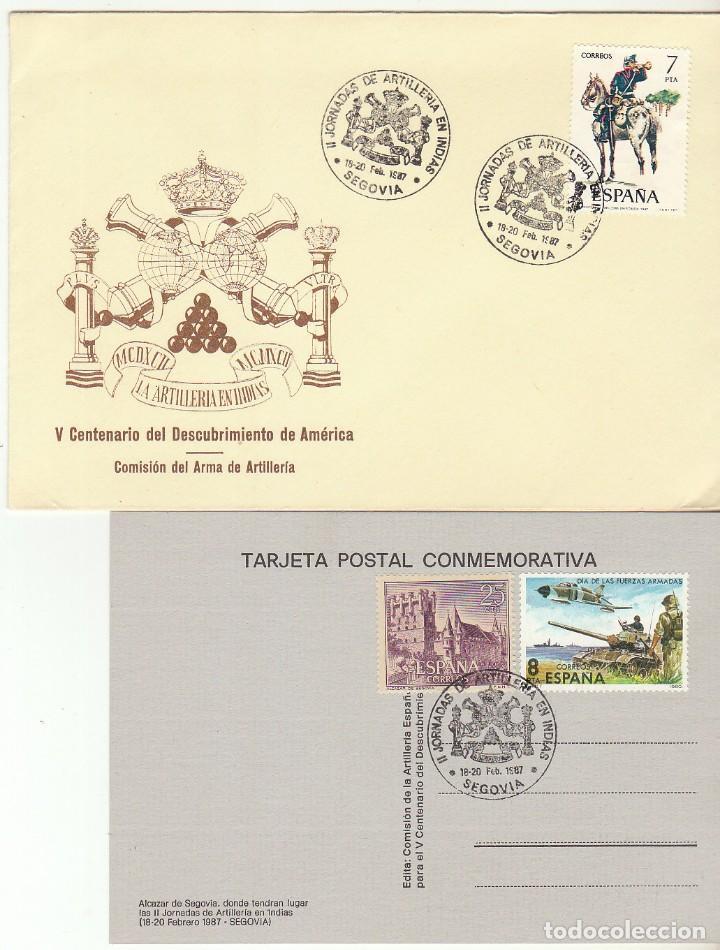 II JORNADA DE ARTILLERIA EN INDIAS . SEGOVIA. 1987 (Sellos - España - Juan Carlos I - Desde 1.986 a 1.999 - Cartas)
