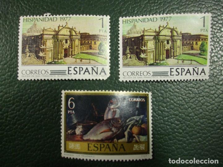 3 SELLOS HISPANIDAD IGLESIA SAN FRANCISCO GUTEMALA, BODEGON L.E. MENENDEZ 1 Y 6 PESETAS 1977 SELLO (Sellos - España - Juan Carlos I - Desde 1.975 a 1.985 - Nuevos)