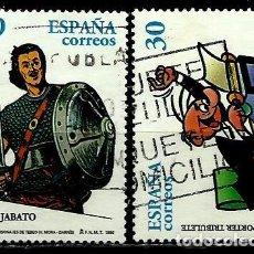 Sellos: ESPAÑA 1996- EDI 3435/36 (COMICS: EL GUERRERO DEL ANTIFAZ Y EL REPORTER TRIBULETE) USADOS. Lote 194227646