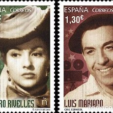 Sellos: SPAIN 2016 - SPANISH CINEMA - AMPARO RIVELLES AND LUIS MARIANO STAMP SET MNH. Lote 74470699
