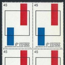 Sellos: ESPAÑA 1989 EDIFIL 2988** BICENTENARIO DE LA REVOLUCION FRANCESA EN BLOQUE DE 4. Lote 74695735