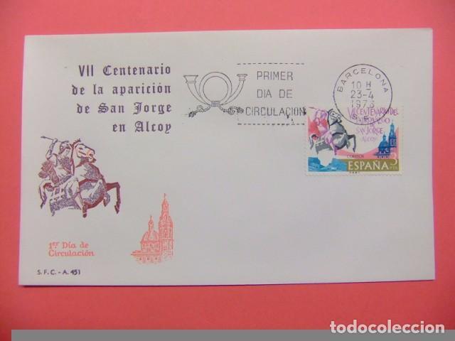 ESPAÑA ESPAGNE FDC 1976 VII CENTENARIO DE LA APARICION DE SAN JORGE EN ALCOY - EDIFIL Nº 2315 (Sellos - España - Juan Carlos I - Desde 1.975 a 1.985 - Cartas)