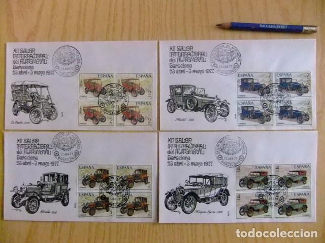 ESPAÑA ESPAGNE FDC 1977 XII SALON DEL AUTOMOVIL AUTOMOBILES ANCIENNES EDIFIL Nº 2409 /12 YV 2048/51 (Sellos - España - Juan Carlos I - Desde 1.975 a 1.985 - Cartas)