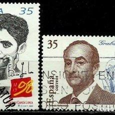 Sellos: ESPAÑA 1998- EDI 3549-50 (SELLOS-LORCA - SANCHEZ TODA) USADOS. Lote 101316890
