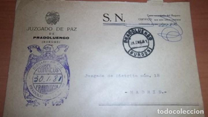 CARTA PRADOLUENGO BURGOS MATASELLOS HISTORIA POSTAL FRANQUICIA CORREOS (Sellos - España - Juan Carlos I - Desde 1.975 a 1.985 - Cartas)