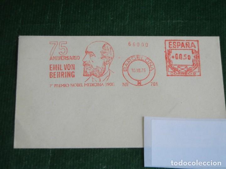 ESPAÑA - SOBRE CON FRANQUEO MECANICO HOECHST N.781 1976 - 75 ANIV. EMIL VON BEHRING - RARO QUIMICA (Sellos - España - Juan Carlos I - Desde 1.975 a 1.985 - Cartas)