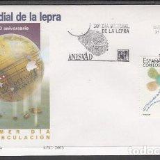Sellos: 2003 SOBRE PRIMER DIA EDIFIL 3959 NUEVO. DIA MUNDIAL DE LA LEPRA. Lote 110341903