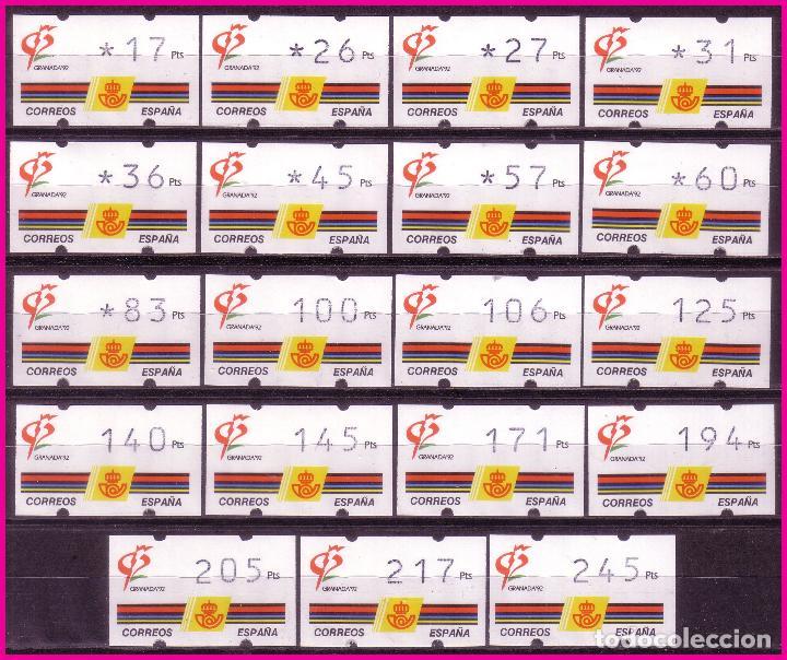 ATM ´S 1992 GRANADA´92, SERIE COMPLETA DE 19 VALORES, 3 DÍGITOS, EDIFIL Nº 3 * * (Sellos - España - Juan Carlos I - Desde 1.986 a 1.999 - Nuevos)