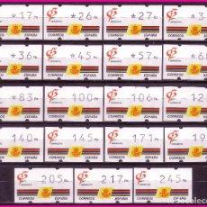 Sellos: ATM ´S 1992 GRANADA´92, SERIE COMPLETA DE 19 VALORES, 3 DÍGITOS, EDIFIL Nº 3 * *. Lote 78072841