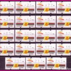 Sellos: ATM ´S 1992 JUEGOS OLÍMPICOS, SERIE COMPLETA DE 19 VALORES, 3 DÍGITOS, EDIFIL Nº 4 * *. Lote 78072929