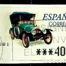 Timbres: ESPAÑA 2001 (ETIQUETA ATM)(TERMICA)(COCHES DE EPOCA PEUGEOT BEBE CASC) (TIPO DE 5 DIGITOS) USADA. Lote 78443441