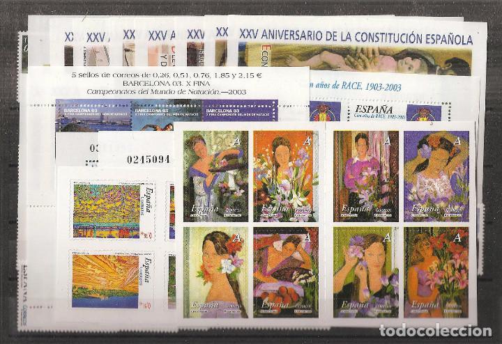 AÑO 2003 COMPLETO - NUEVO SIN FIJASELLOS - ESPAÑA MNH (Sellos - España - Juan Carlos I - Desde 2.000 - Nuevos)