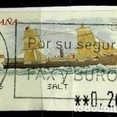 Timbres: ESPAÑA 2002 (ETIQUETA ATM)(TERMICA)(BARCO VAPOR MIXTO MIGUEL M. PINILLOS) USADA. Lote 79348709