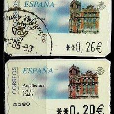 Sellos: ESPAÑA 2002 (ETIQUETA ATM)(TERMICA)(ARQUITECTURA POSTAL: CADIZ)(2 TIPOS) USADAS. Lote 79349397