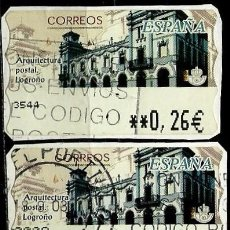 Sellos: ESPAÑA 2002 (ETIQUETA ATM)(TERMICA)(ARQUITECTURA POSTAL: LOGROÑO)(2 TIPOS) USADAS. Lote 79349429