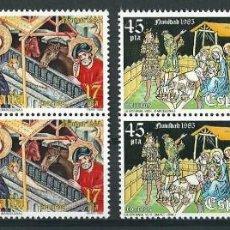 Sellos: ESPAÑA 1985 EDIFIL 2818/19** NAVIDAD EN BLOQUES DE 4. Lote 79962521