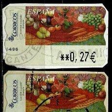 Sellos: ESPAÑA 2003 (ETIQUETA ATM)(TERMICA)(PINTURAS: BODEGON)(2 TIPOS) USADAS. Lote 80135809