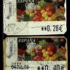 Sellos: ESPAÑA 2003 (ETIQUETA ATM)(TERMICA)(PINTURAS: FRUTAS)(2 TIPOS) USADAS. Lote 80136237