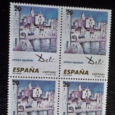 Selos: ESPAÑA. 3291 OBRAS DE SALVADOR DALÍ: PORT ALGUER, EN BLOQUE DE CUATRO.1994. NUMERACIÓN EDIFIL Y SEL. Lote 80828571