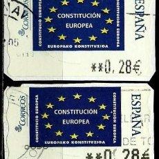 Sellos: ESPAÑA 2005 (ETIQUETA ATM)(TERMICA)(CONSTITUCION EUROPEA) (2 TIPOS) USADAS. Lote 81127144
