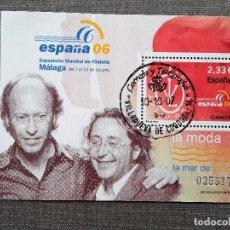 Sellos: ESPAÑA 2006, HOJA BLOQUE , LA MODA: VICTORIO & LUCCINO, USADO, CON GOMA INTACTA. Lote 81153816
